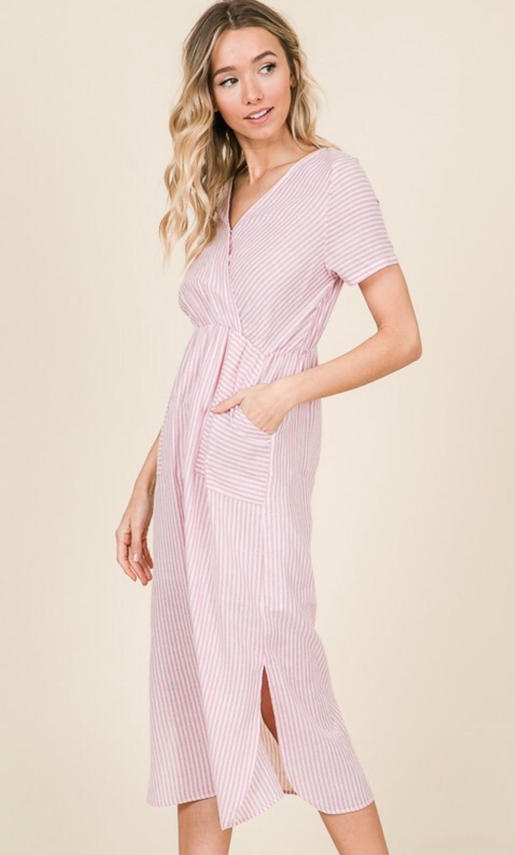 The Sunset Coral striped dress
