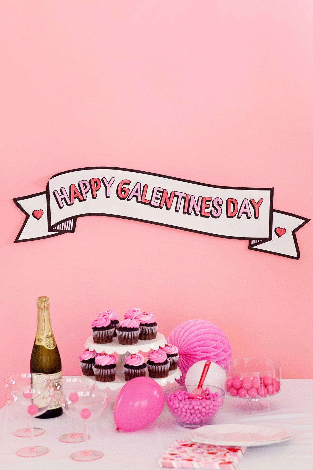 GALENTINE'S DAY BANNER - pdf printable