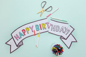 BLACK AND WHITE/ COLOR YOURSELF BIRTHDAY BANNER- pdf printable