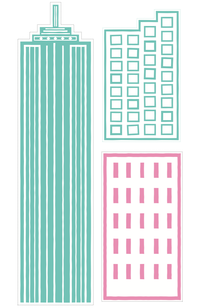 SUPER GIRL BUILDINGS - pdf printable