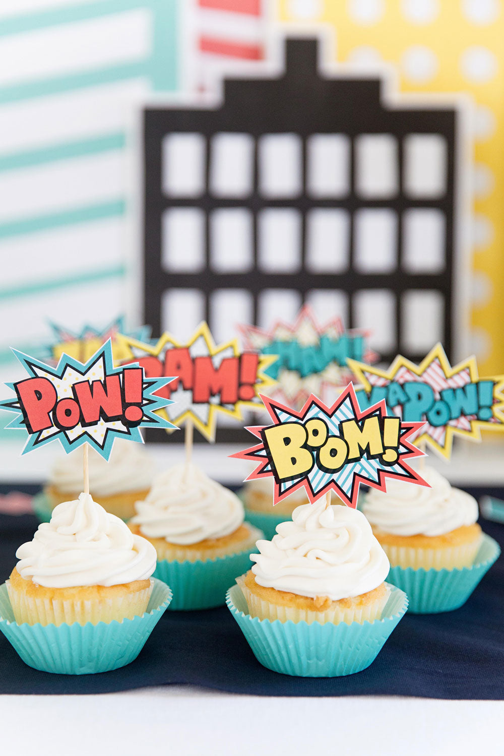 SUPER HERO CUPCAKE/ CAKE TOPPERS AND TABLE DECOR- pdf printable