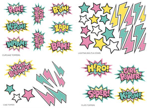 SUPER GIRL CUPCAKE/ CAKE TOPPERS AND TABLE DECOR- pdf printable