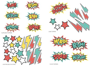 SUPER HERO PARTY PACK - pdf printable