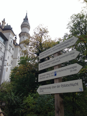 Signs for how to visit Neuschwanstein Castle