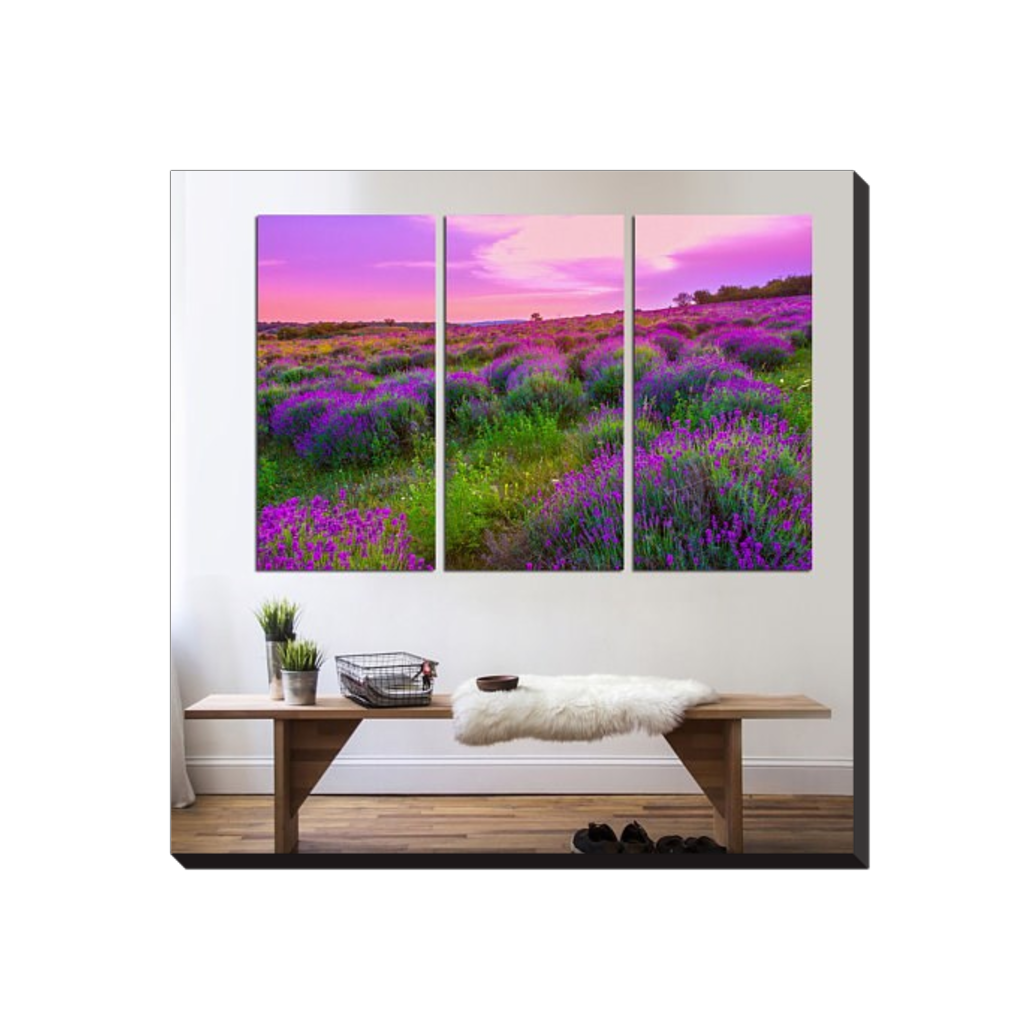 Lavender flowers blooming field with beautiful flowers 3 panel lavender flowers blooming field with beautiful flowers 3 panel canvas split izmirmasajfo