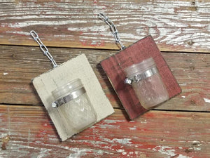 (Set of 2) R & W Decorative Handcrafted Wood With Mason Jar - Red + Beige