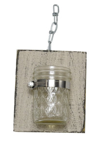(Set of 2) R & W Decorative Handcrafted Wood With Mason Jar - Beige