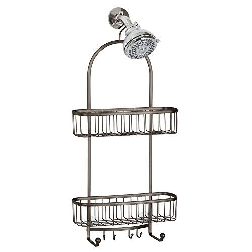 InterDesign York Extra Large Shower Caddy - Bathroom Storage Shelves for Shampoo, Conditioner and Soap, Bronze