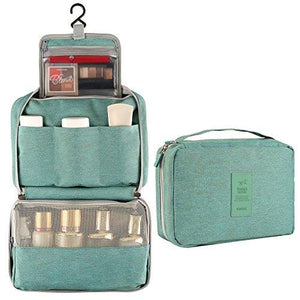 Hanging Toiletry Bag, AllBlue Waterproof Thickened Cosmetic Makeup Travel Bag Trip Kit Bathroom Organizer Carry On Case (Green)