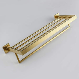 Buy now turs 22 inch bathroom towel rack storage organizer hanger towel bar sus 304 stainless steel wall mount brushed gold q7008lj
