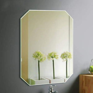 Products guowei mirror octagon frameless wall mounted high definition beveled bathroom makeup vanity 3 size color silver size 60x80cm