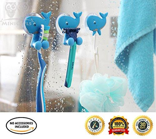 MiniOwls Bath Combo - Set of 4 Toothbrush Holders & 2 Hooks with Blue Whale Suction Cups. Best Bathroom Organizer -3% is Donated to Autism Foundation