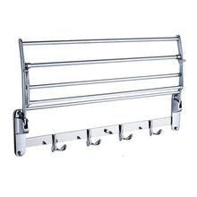 Load image into Gallery viewer, Kitchen garbnoire 202 grade stainless steel 2 feet long folding bathroom towel rack swivel towel bar stainless steel wall mounted shelf organization for storage hanging holder above toilet hotel home