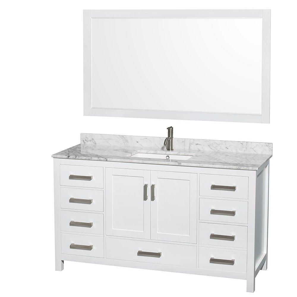 Purchase wyndham collection sheffield 60 inch single bathroom vanity in white white carrera marble countertop undermount square sink and 58 inch mirror