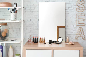 Select nice frameless rectangular wall mirror 24 w x 36 h large beveled edge glass panel hangs horizontal vertical for vanity bathroom bedroom gym free perfume tray with every purchase 24 x 36