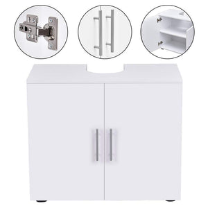 Home bathroom non pedestal under sink vanity cabinet multipurpose freestanding space saver storage organizer double doors with shelves white