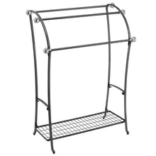 Load image into Gallery viewer, Budget friendly mdesign large freestanding towel rack holder with storage shelf 3 tier metal organizer for bath hand towels washcloths bathroom accessories black brushed steel