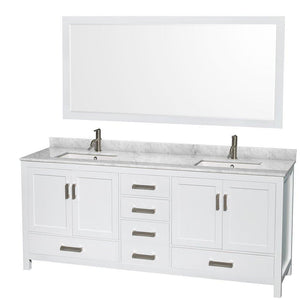 Results wyndham collection sheffield 80 inch double bathroom vanity in white white carrera marble countertop undermount square sinks and 70 inch mirror