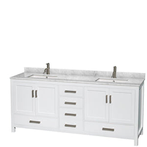 Shop wyndham collection sheffield 80 inch double bathroom vanity in white white carrera marble countertop undermount square sinks and 70 inch mirror