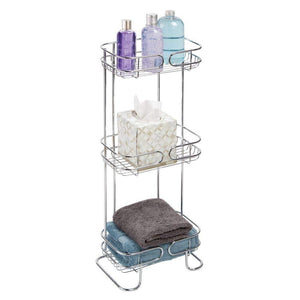 Cheap mdesign rectangular metal bathroom shelf unit free standing vertical storage for organizing and storing hand towels body lotion facial tissues bath salts 3 shelves 2 pack chrome