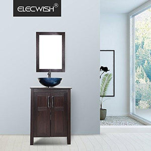Shop for elecwish usba20090 usba20077 bathroom vanity and sink combo stand cabinet and tempered blue glass vessel sink orb faucet and pop up drain mirror mounting ring