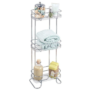 Buy mdesign rectangular metal bathroom shelf unit free standing vertical storage for organizing and storing hand towels body lotion facial tissues bath salts 3 shelves 2 pack chrome