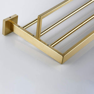 Cheap turs 22 inch bathroom towel rack storage organizer hanger towel bar sus 304 stainless steel wall mount brushed gold q7008lj