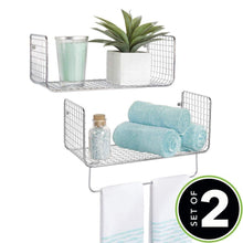 Load image into Gallery viewer, Great mdesign metal wire farmhouse wall decor storage organizer shelving set 1 shelf with towel bar for bathroom laundry room kitchen garage wall mount 2 pieces chrome