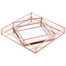 Load image into Gallery viewer, Best koyal wholesale glass mirror square trays vanity set of 2 rose gold decorative mirrored trays for coffee table bar cart dresser bathroom perfume makeup wedding centerpieces
