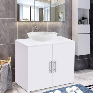 Heavy duty bathroom non pedestal under sink vanity cabinet multipurpose freestanding space saver storage organizer double doors with shelves white