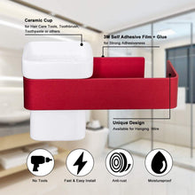 Load image into Gallery viewer, Organize with ty storage hair dryer holder wall mount blow dryer holder aluminum bathroom organizer ceramic cup modern no drilling self adhesive bathroom bedroom storage red white