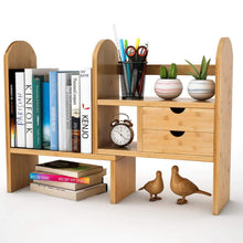 Load image into Gallery viewer, Get tribesigns bamboo desktop bookshelf counter top bookcase adjustable with 2 drawers desk storage organizer display shelf rack for office supplies kitchen bathroom makeup natural