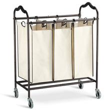 Load image into Gallery viewer, Exclusive bbshoping organizer laundry hamper cart dirty clothes organibbshoping zer for bathroom bedroom utility room powder coated beige