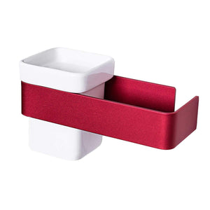 New ty storage hair dryer holder wall mount blow dryer holder aluminum bathroom organizer ceramic cup modern no drilling self adhesive bathroom bedroom storage red white