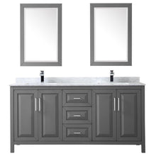 Load image into Gallery viewer, Discover the wyndham collection daria 72 inch double bathroom vanity in dark gray white carrara marble countertop undermount square sinks and 24 inch mirrors