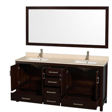 Load image into Gallery viewer, Order now wyndham collection sheffield 72 inch double bathroom vanity in espresso ivory marble countertop undermount square sinks and 70 inch mirror