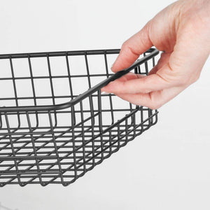 Latest mdesign household metal wire cabinet organizer storage organizer bins baskets trays for kitchen pantry pantry fridge closets garage laundry bathroom 16 x 9 x 3 4 pack matte black