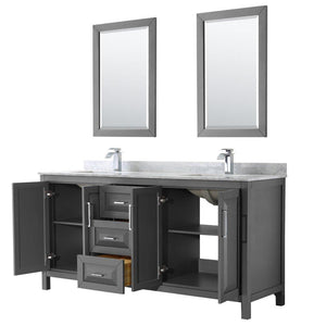 Discover the best wyndham collection daria 72 inch double bathroom vanity in dark gray white carrara marble countertop undermount square sinks and 24 inch mirrors