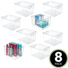 Load image into Gallery viewer, Save mdesign plastic storage organizer bin tote for organizing bathroom hand soaps body wash shampoo lotion conditioners hand towels hair accessories body spray mouthwash 8 high 8 pack clear