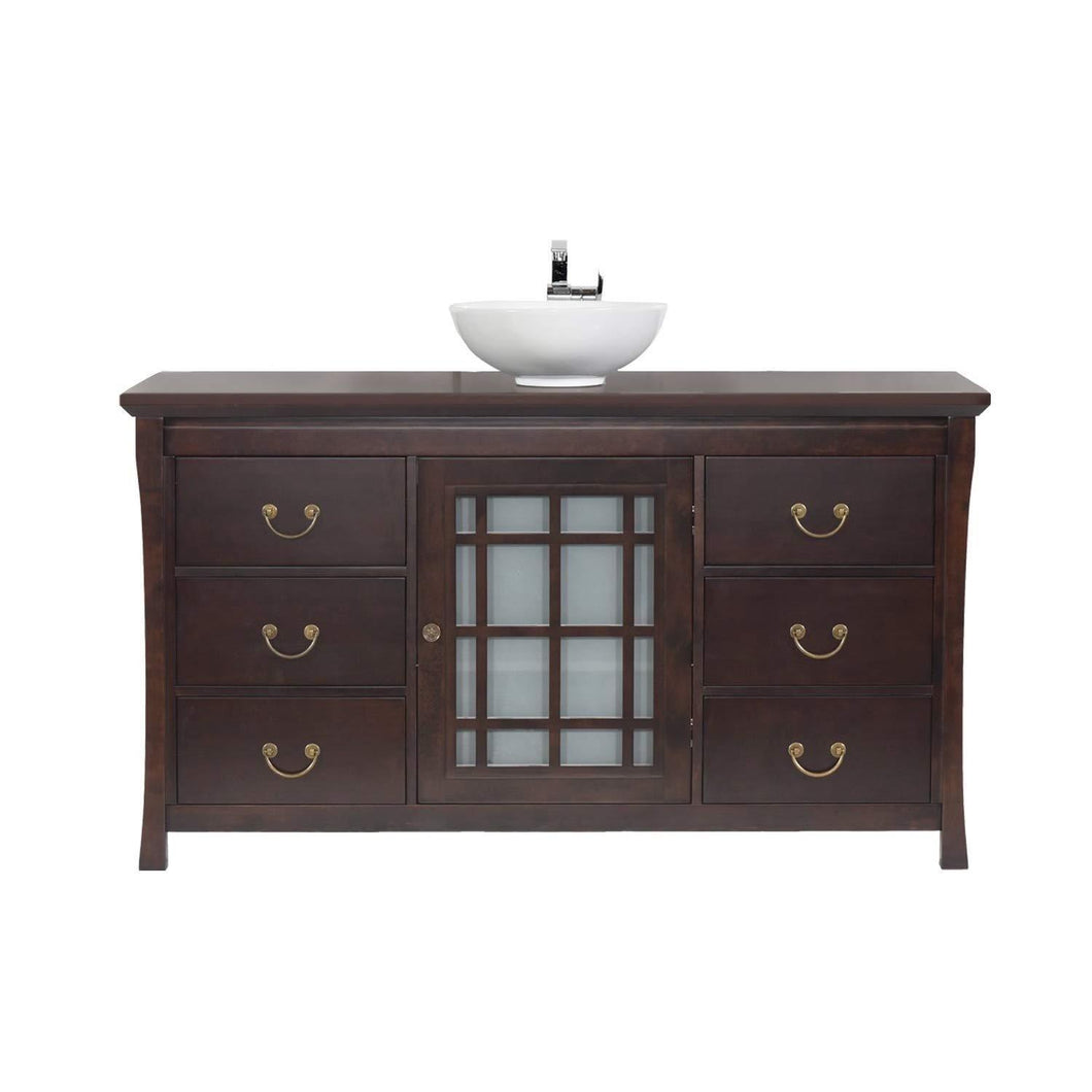 Budget friendly maykke shoji 64 pacific rim single bathroom vanity set in vintage walnut wood vanity top in vintage walnut ceramic vessel in white lba0460005