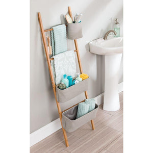 Top interdesign formbu wren free standing bathroom storage ladder with bins for towels beauty products lotion soap toilet paper accessories natural gray