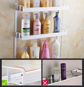 Order now 2 layer space aluminum bathroom corner shelf shower caddy shampoo soap cosmetic storage basket kitchen spice rack holder organizer with towel bar and hooks rectangle double