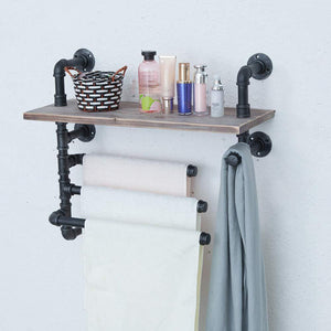 Top rated industrial towel rack with 3 towel bar 24in rustic bathroom shelves wall mounted farmhouse black pipe shelving wood shelf metal floating shelves towel holder iron distressed shelf over toilet