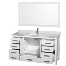 Load image into Gallery viewer, Selection wyndham collection sheffield 60 inch single bathroom vanity in white white carrera marble countertop undermount square sink and 58 inch mirror