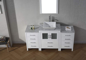 Best seller  virtu usa dior 60 inch single sink bathroom vanity set in white w square vessel sink italian carrara white marble countertop single hole polished chrome 1 mirror ks 70060 wm wh