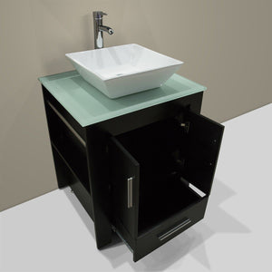 Try walcut 24 inch bathroom vanity and sink combo modern black mdf cabinet ceramic vessel sink with faucet and pop up drain mirror tempered glass counter top
