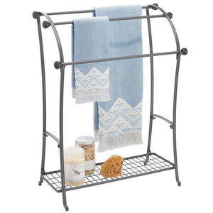 Order now mdesign large freestanding towel rack holder with storage shelf 3 tier metal organizer for bath hand towels washcloths bathroom accessories graphite gray