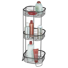 Load image into Gallery viewer, Featured mdesign square metal bathroom shelf unit free standing vertical storage for organizing and storing hand towels body lotion facial tissues bath salts 3 shelves steel wire matte black