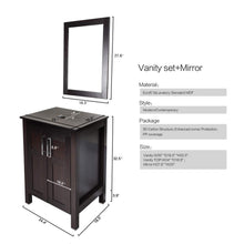 Load image into Gallery viewer, Select nice bathroom vanities 24 inch with sink freestanding eco mdf sink cabinet vanity organizers with counter top glass vessel sink vanity mirror and 1 5 gpm faucet combo vanity ocean blue sink