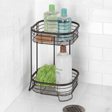 Load image into Gallery viewer, The best idesign forma metal wire free standing 2 tier shelves vanity caddy baskets for bathroom countertops desks dressers 9 5 x 9 5 x 15 25 bronze